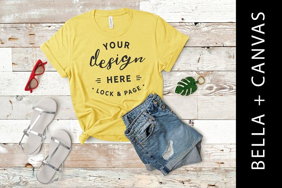 Bella Canvas Yellow TShirt Mockup
