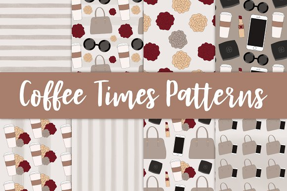 Coffee Times Seamless Patterns