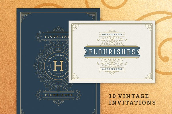 10 Vintage Ornament Invitations