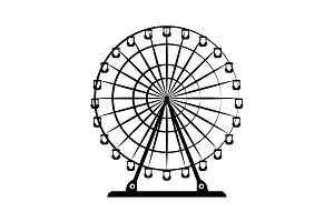Ferris wheel vector black on white