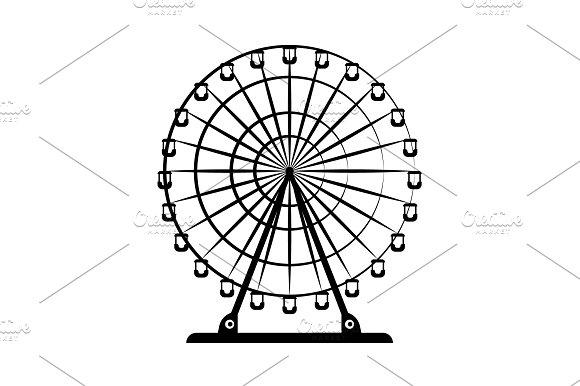 Ferris Wheel Vector Black On White