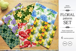 Watercolor floral patterns set