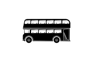 Double-decker vector icon black