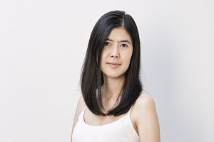 asian woman on white background