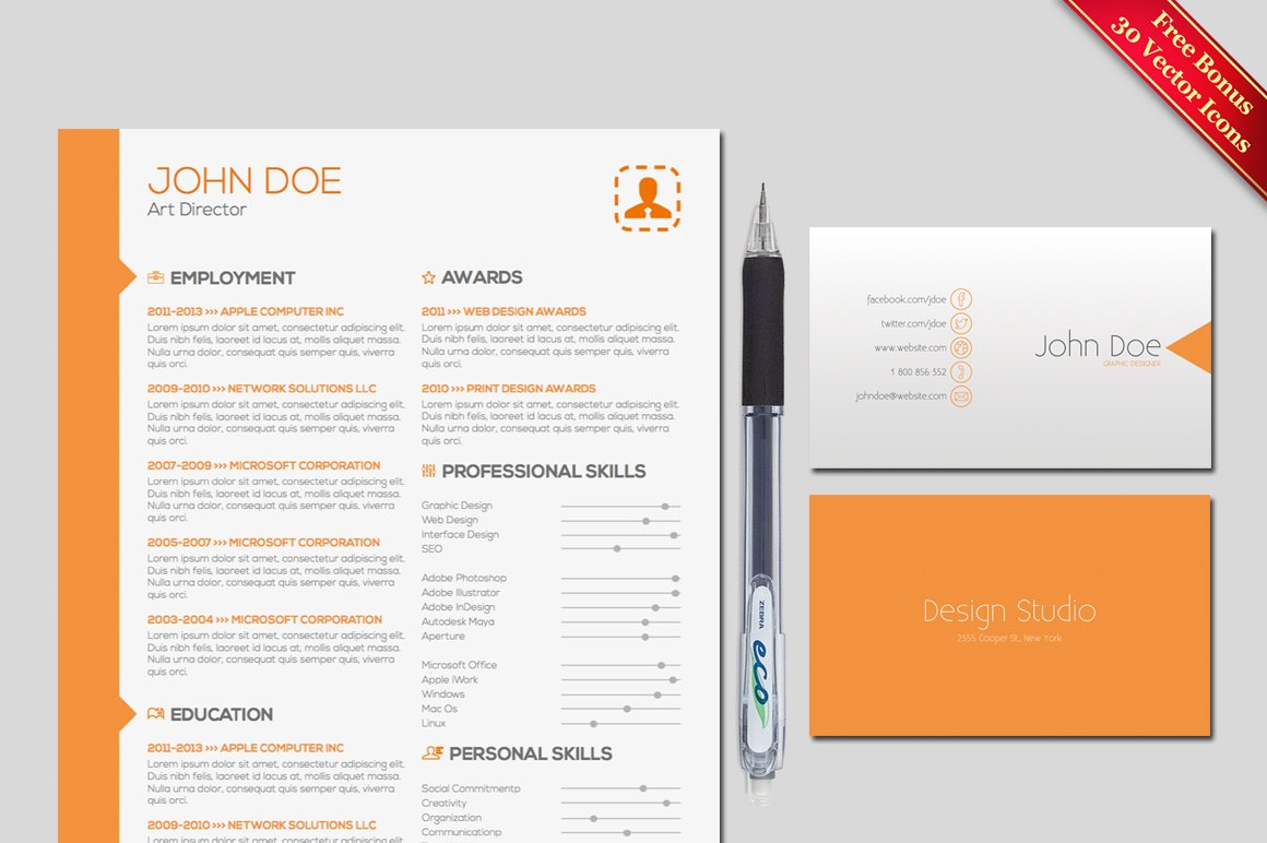 Resume cover letter template resume templates creative market spiritdancerdesigns
