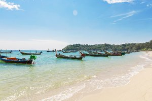 Thailand, Phuket island - 2017 December 20: Andaman Sea with tra