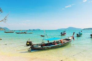 Thailand, Phuket island - 2017 December 20: Andaman Sea with tra