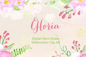 Gloria soft Watercolor Clip Art