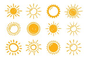 12 Hand Drawn Suns