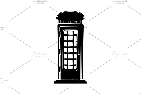 Phone Booth Vector Black On White