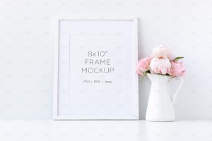 White Frame Mockup Floral, 8x10