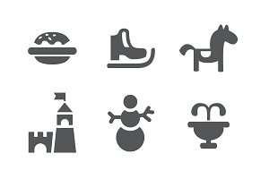 Set of children entertainment icons. Carousel skates snowman burger and tower. Black and white isolated