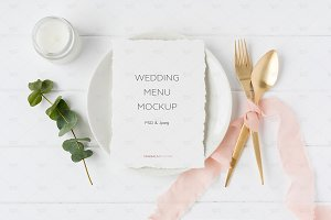 Wedding Menu Mockup - Elegant Blush