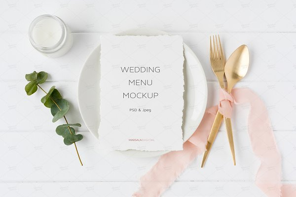 Wedding Menu Mockup - Elegant Blush…