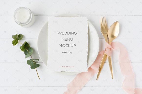Wedding Menu Mockup Elegant Blush
