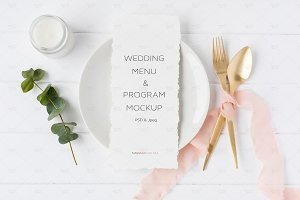 4x9 Wedding Menu Mockup, Psd + Jpeg
