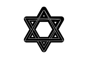 Star of David black on white