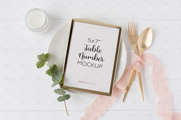 Wedding Table Number or Menu Mockup…