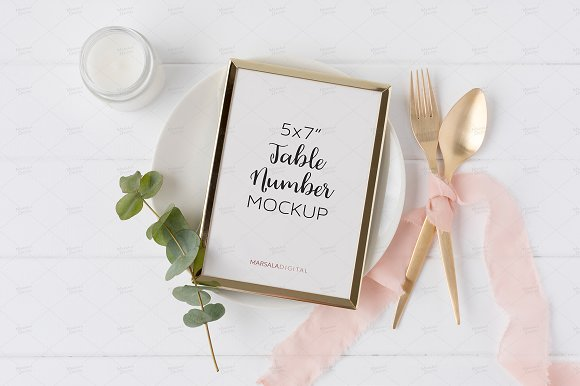 Wedding Table Number Or Menu Mockup