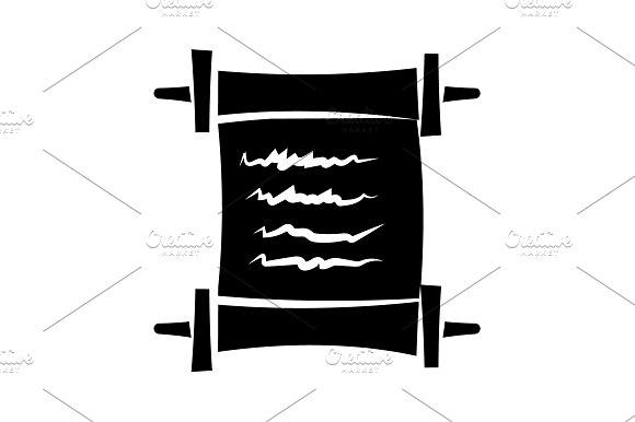 Scroll Vector Icon Black On White