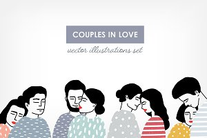 Set of couples in love