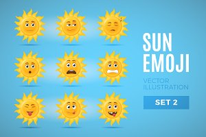 Sun Emoticons  - Set 2