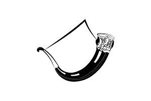 Horn. Drinking horn black on white