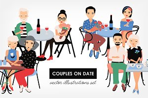 Set of couples on romantic date