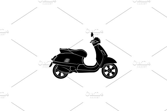 Vintage Moped Motorcycle Black