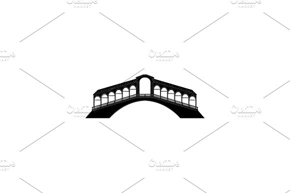 Rialto Bridge In Venice Black