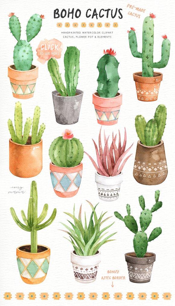 Cactus boho. Watercolor clip arts