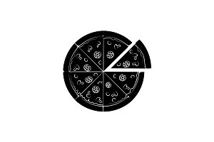 Pizza vector icon black on white