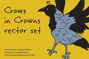 Crows in Crowns vector set