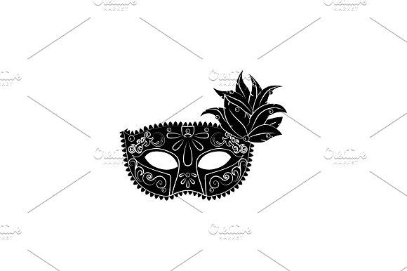 Venecian Mask Vector Black On White
