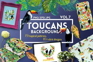 Watercolor Floral Design Set Toucans