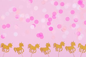 Pink confetti & unicorns background