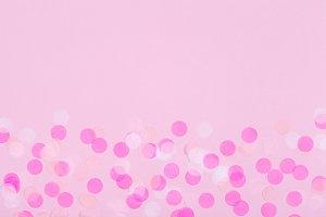 Pink confetti & copyspace background