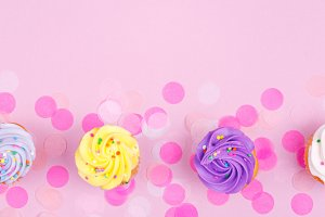 Pink banner with cupcakes