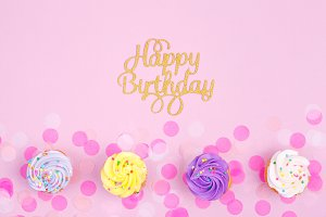 HB background with cupcakes