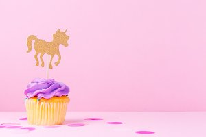 Ultra violet cupcake with unicorn
