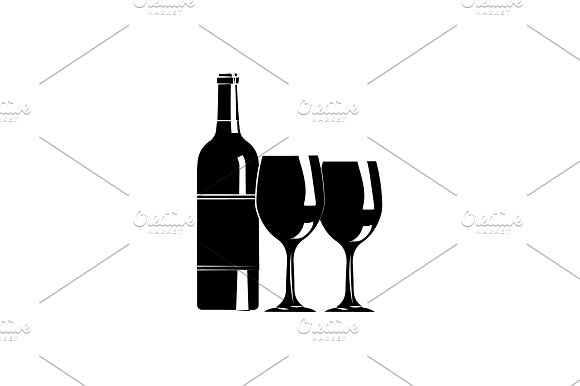 A Bottle Of Wine And Glasses