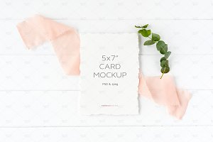 A7 Invitation Card Mockup Psd + Jpg