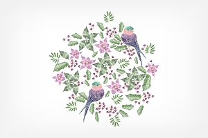 Embroidery design with birds,flowers
