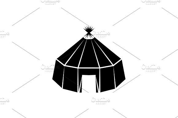Yurt Vector Icon Black On White Back