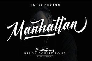 Manhattan Brush Script Font & Swash