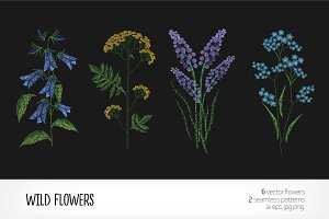Embroidered blooming wild flowers