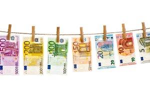 Euro banknotes hanging