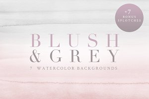 Watercolor Backgrounds - Blush/Grey
