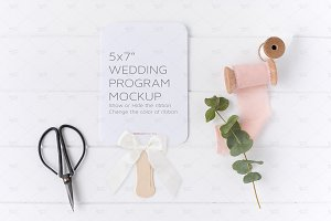 Wedding Program Mockup, Psd + Jpeg
