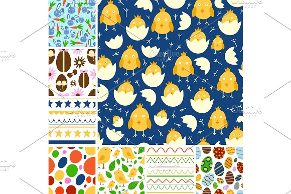 Easter Seamless Pattern Background Design Vector Holiday Celebration Party Wallpaper Greeting Colorful Egg Fabric Textile Illustration
